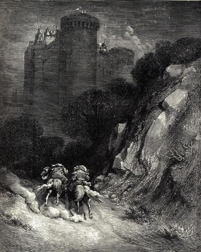 Illustration pour les Contes de Charles Perrault. La Barbe Bleue des Histoires ou Contes du Temps passé. Illustrations de Gustave Doré en 1867.