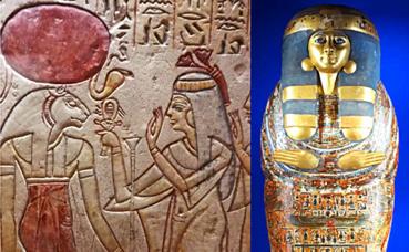 Les trésors de l'Egypte pharaonique, fresque et sarcophage. Photos Montage (c) Charlotte Service-Longépé