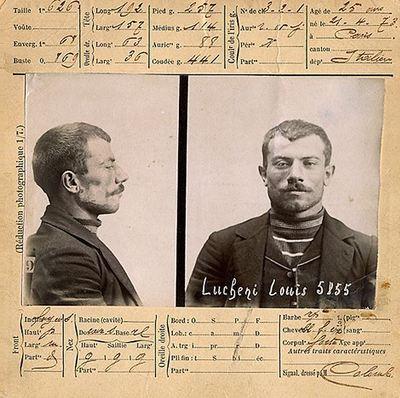 Fiche de la police suisse concernant Luigi Lucheni,1898