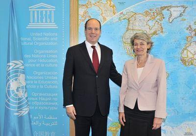 S.A.S le Prince avec Mme Irina BOKOVA, Directrice Générale de l'UNESCO. Photo (c) Gaetan Luci / Palais Princier