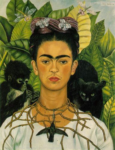 Autoportrait de Frida Kahlo au collier d'épines avec colibri