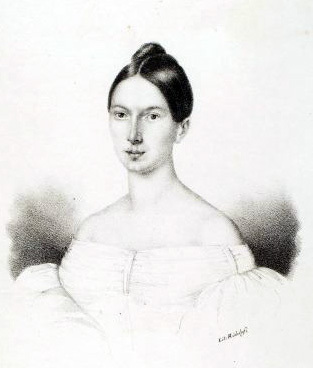 Portrait de Caroline Ungher, lithographie d'un artiste inconnu, Ridolofi, Cantò in Livorno l'Autunno en 1834