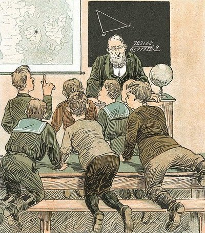 L'école, par Ravnen, 1890. Illustration du domain public.