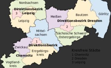 Carte de la région de Saxe (c) NordNordWest