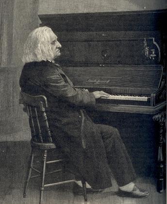Liszt au piano, d'après une vieille photographie extraite de Century Magazine, 1886