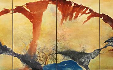 """""""Décembre 89 - février 90"""", quadriptyque, huile sur toile. Photo (c) Charlotte Service-Longépé"""