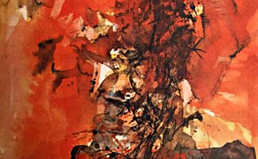 """Aquarelle inédite pour le livre """"Illuminations"""" d'Arthur Rimbaud en 1966. Photo (c) Charlotte Service-Longépé"""