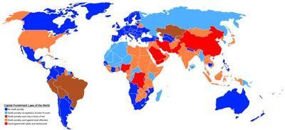Carte 2009 des peines de morts. En rouge, les pays où les mineurs sont exécutés. Illustration originale (c) Stw