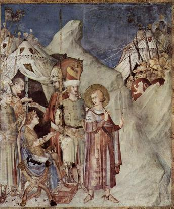 Saint Martin renonce à sa vie militaire et de chevalier, fresque du peintre italien Simone Martini, entre 1322 et 1326, église saint François à Assise
