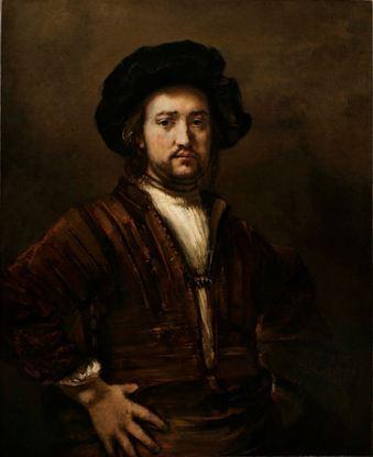 Portrait d'un homme, mains sur les hanches de Rembrandt Harmensz. van Rijn, signé et daté de 1658, huile sur toile, 107,4 x 87 cm