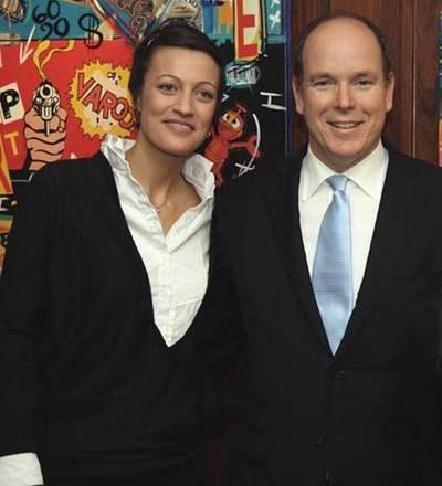 Le prince Souverain avec Axelle Amalberti, présidente de l'AJM. Photo courtoisie (c) AJM