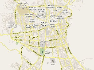 Carte de Sanaa et Taizz par Google Maps