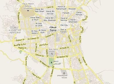 Carte de Sanaa et Taizz par Google Maps
