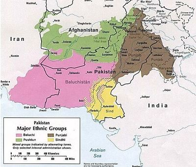 Région du Baloutchistan en rose (c) Wikipedia