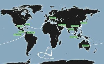 Voyage du  PlanetSolar (c) carte provenant de l'organisation  PlanetSolar