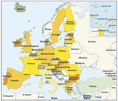 En gris, pays en cours de négociation en vue d'intégrée l'Union européenne (c) Europa