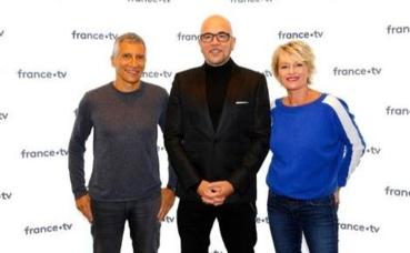 Nagui, Pascal Obispo et Sophie Davant. Photo courtoisie (c) Christophe Russeil / FTV