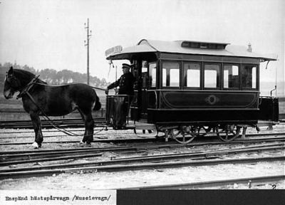 Tramway à cheval, à Stockholm en 1877, photographe inconnu