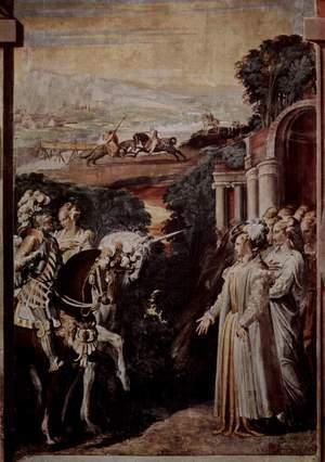 Alcina reçoit Ruggiero en son château, gravure de Nicolò dell'Abate (1510-1571), vers 1550