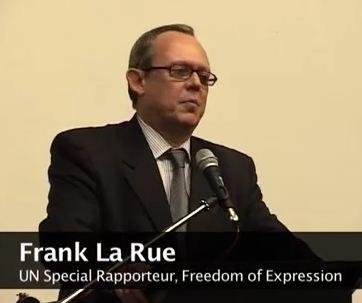 Frank La Rue. Photo extraite de la vidéo de sa dernière intervention sur le thème de la liberté de presse, en Hongrie (c) CEU Hungary