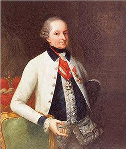 Prince Nicolas Ier Esterházy revêtu de l'uniforme de son régiment d'infanterie No. 33. Peinture de Martin Knoller vers1790.