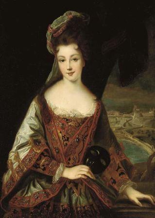 Louise Hippolyte Grimaldi devant une vue de Monaco, oeuvre de l'atelier du peintre Jean-Baptiste Santerre (1651-1717)