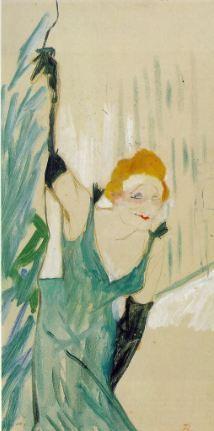 Yvette Guilbert saluant le public, gouache sur carton 48×28 cm de 1894 par Henri de Toulouse-Lautrec (1864–1901), au musée Toulouse-Lautrec d'Albi