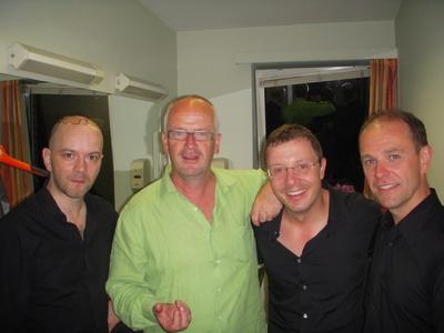 Jérôme de WARZEE, Philippe HALLOY Président du Festival International du Rire de Rochefort, Yann LAMBIEL, Laurent CHANDEMERLE. Photo (c) Jean-Louis Courleux