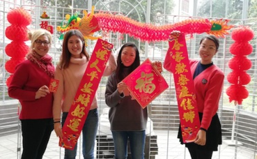 Valérie Bey-Smith, directrice de l'Institut Confucius de Clermont-Fd, Shunxiu Nan, Ning Pan-Hervet, Jia Ren. Photo (c) Isabelle Lépine