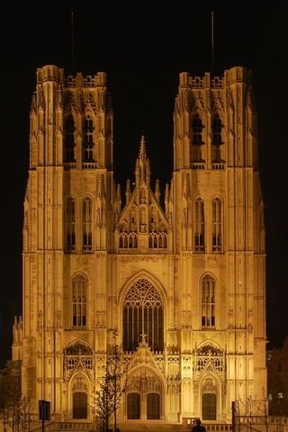 Cathédrale Saint Michel à Bruxelles, de nuit (c) Luc Viatour