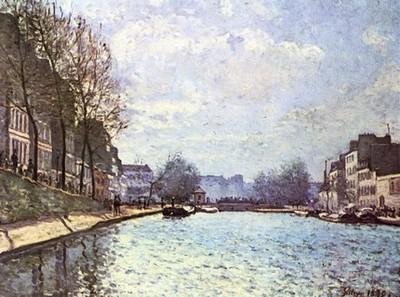 Vue du canal Saint-Martin. Tableau du peintre Alfred Sisley,1870, 50 × 65 cm. Actuellement au musée d'Orsay de Paris