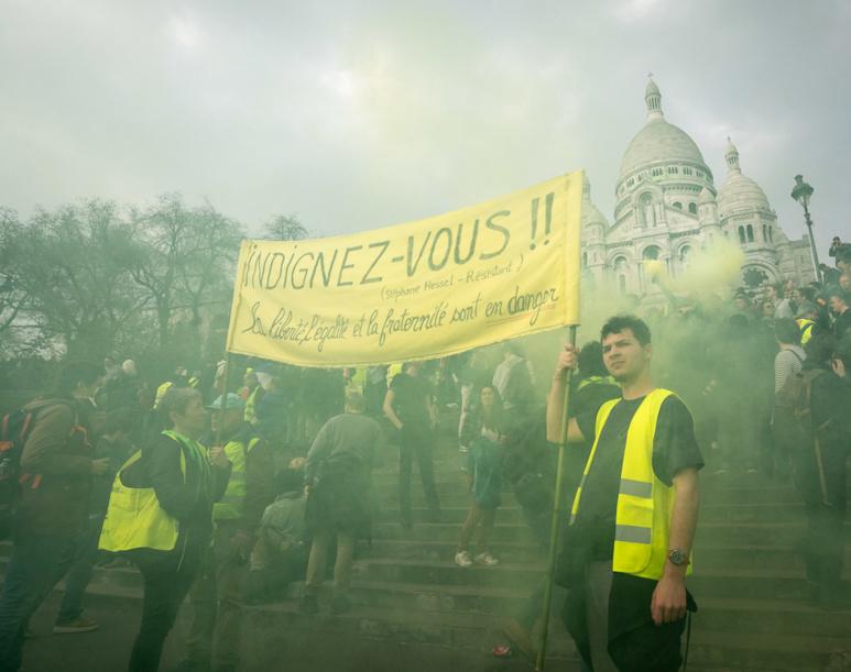 Manifestation de « Gilets Jaunes », acte XVIII à Montmartre. Photo de Olivier Ortelpa.