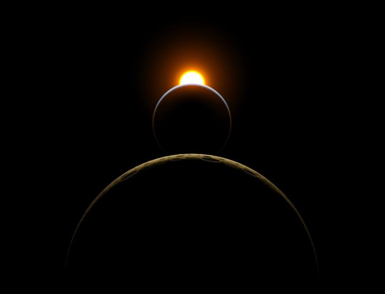 """Le lever du soleil vu de l'espace. Illustration inspirée de la scène d'ouverture du film de Stanley Kubricks """"2001: l'odyssée de l'espace"""". Illustration Grafiker61."""