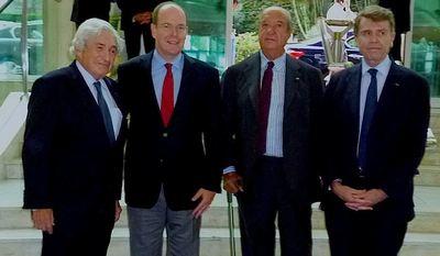Sir James Wolfensohn, le Prince Albert II, Enrico Braggiotti et Thierry de Montbrial. (c) Maria Bologna