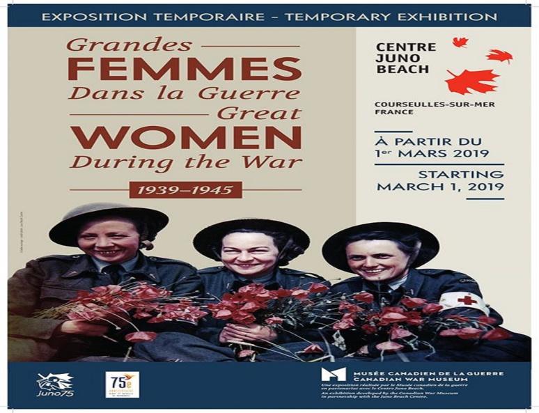 """Affiche de l'exposition """"Grandes femmes dans la guerre"""" (c) dossier de presse Centre Juno Beach"""