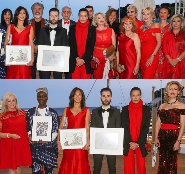 Chantal Ravera (Présidente FLMM), les gagnants: Makef, Joyce Tsang Manet, Lorenzo Gramaccia, S.A.S. la Princesse Stéphanie de Monaco et Charlotte Longépé (Responsable Culturel FLMM). Photo (c) Frederic Nebinger - Palais Princier
