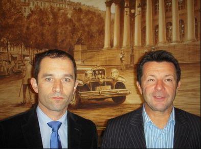 Benoît Hamon, porte parole du parti socialiste français et Denis Jacquet, président du club 'Parrainer la Croissance' (c) Jean-Louis Courleux