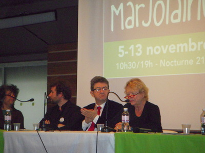 Jean-Luc Mélenchon, candidat du Front de Gauche, Eva Joly, candidate Europe Ecologie Les Verts, au Salon Marjolaine (c) Jean-Louis Courleux