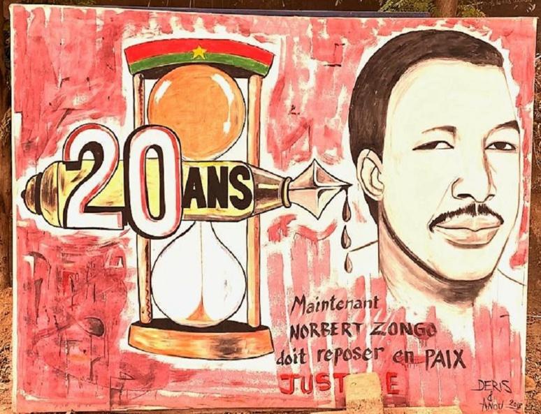 Une pancarte à l'éffigie du journaliste au Centre de Presse Norbert Zongo. Photo (c) A. Tapsoba