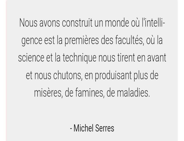 Citation marquante de Michel Serres (C) capture d'écran par Nour Mezouane