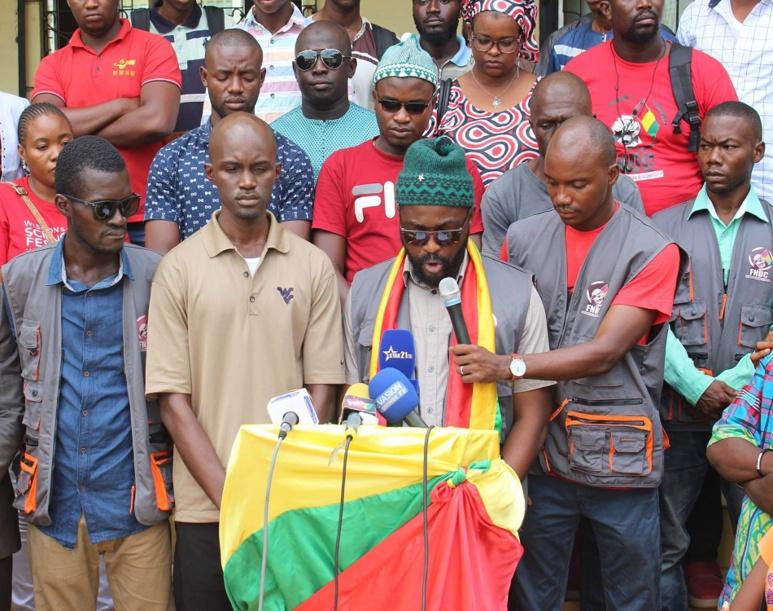 Vendredi 14 juin, le FNDC réagit aux violences de la veille, à N'Zérékoré, sud de la Guinée. (c) Boubacar Barry