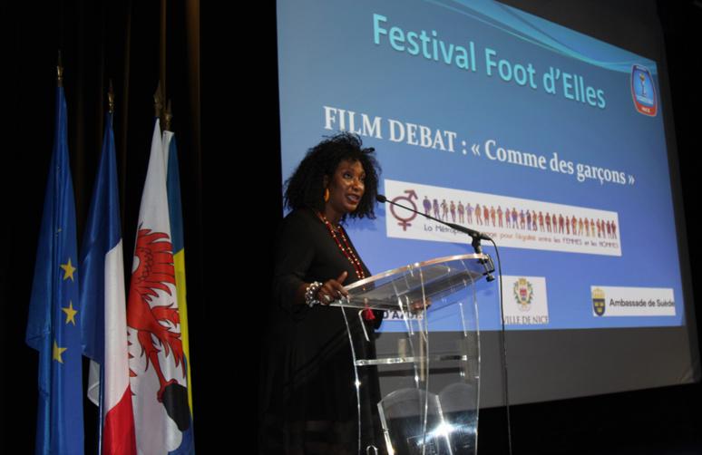 Maty Diouf, adjointe au maire de Nice et déléguée aux Droits des femmes, s'est félicitée du partenariat avec la Suède dans le domaine de l'égalité hommes-femmes. Photo © Serge Gloumeaud