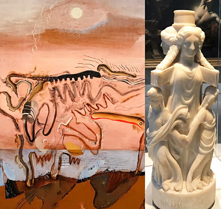 La vache spectral, 1928 (huile), Salvator Dali; Triple Hécate vers 389 après JC (marbre). Photo montage (c) Charlotte Longépé.