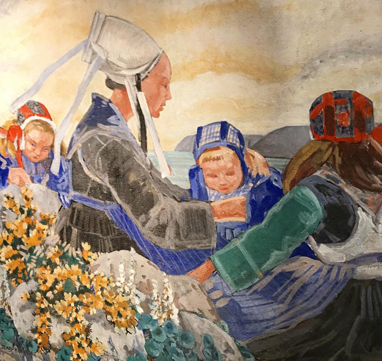 Bretonnes (peinture murale) ornant la chambre d'Yvonne Jean-Haffen à la Grande Vigne de Dinan. Photo (c) Charlotte Longépé.