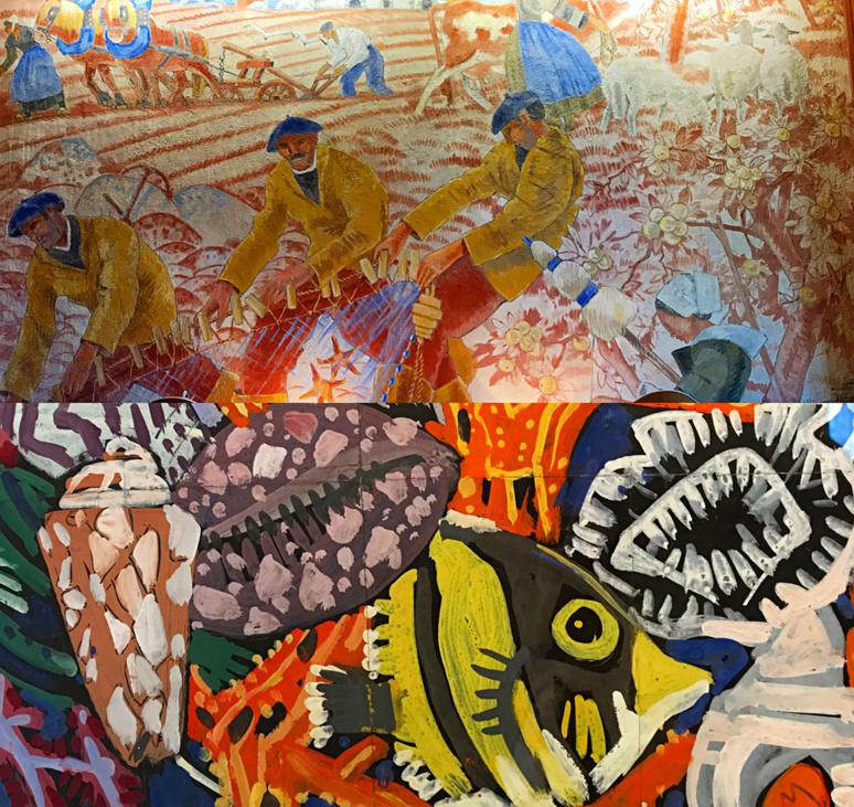 Scènes de pèche et de moisson, peinture murale décorant la salle à manger de la Grande Vigne; étude à la gouache, projet de décors pour un paquebot. Photo montage (c) Charlotte Longépé.