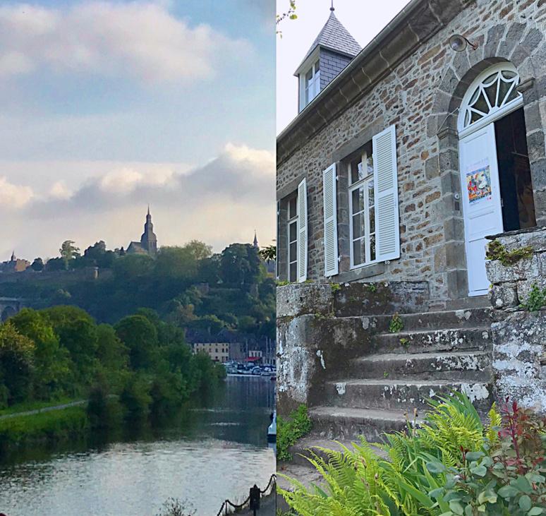 La Vallée de la Rance avec au loin Dinan; l'entrée de la Grande Vigne, maison d'Yvonne Jean-Haffen. Photo montage (c) Charlotte Longépé