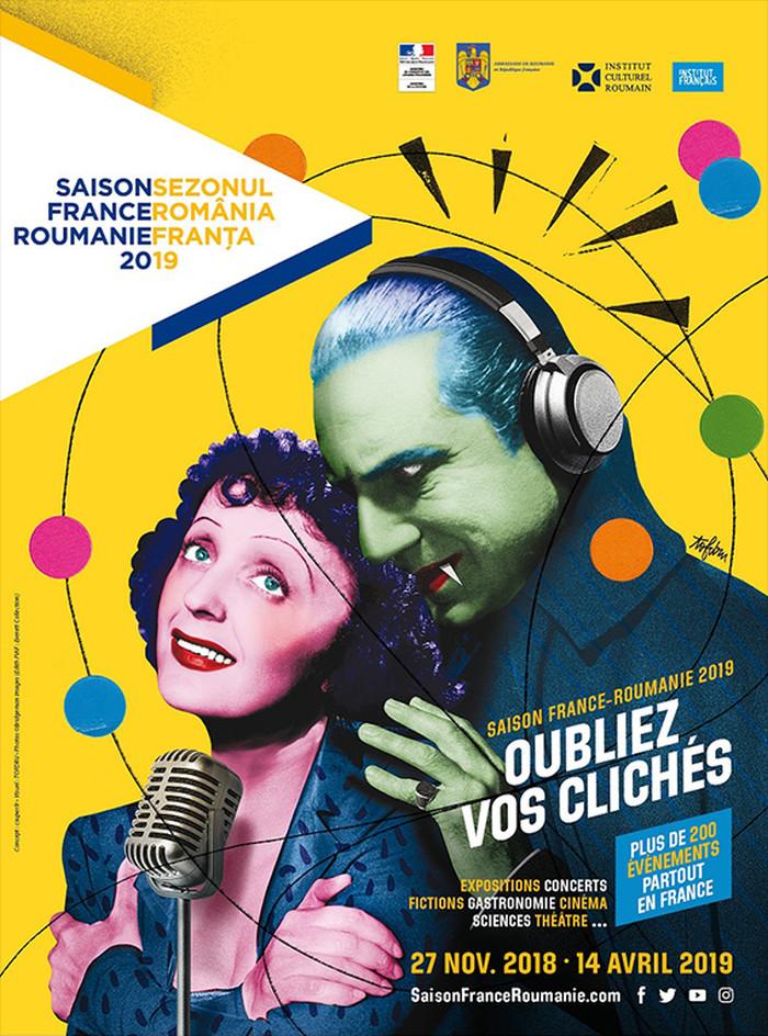 Une des affiches de la Saison France Roumanie - Edith Piaff à côté du Comte Dracula. Image (C) TofDru / Agence ©SUPER!