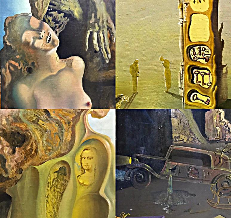 La Mémoire de la femme-enfant, huile sur toile 1929, détails représentant Napoléon et la Joconde, un nu féminin en souffrance, l'Angelus de Millet, des fourmis symbole de la décomposition et des clés des multiples mystères et enfin un accident surréaliste avec une Cadillac. Photos montage (c) Charlotte Longépé.