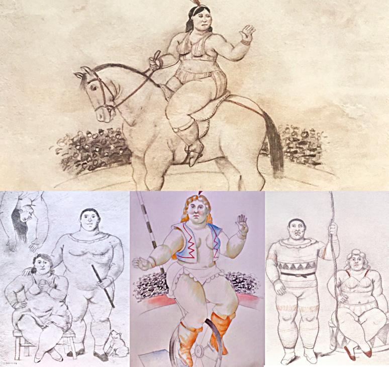 Divers dessins sur papier mexicain utilisant le pastel, crayon, sanguine executés par Fernando Botero dans les années 2000. Photos montage (c) Charlotte Longépé.
