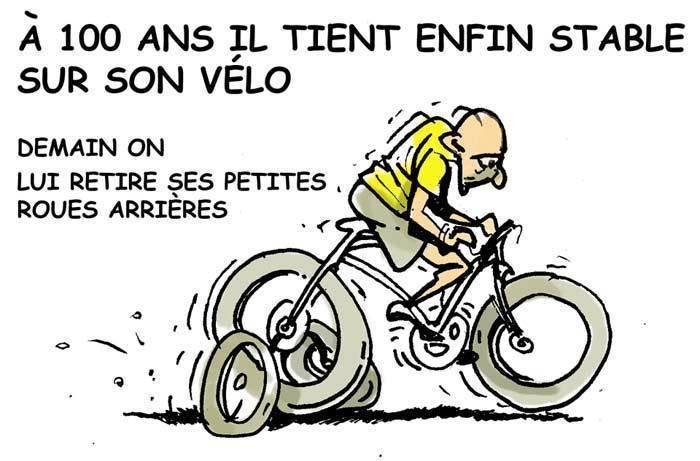 Dessin de presse pierre qui roule sans jeu de mots - Dessin cycliste humoristique ...